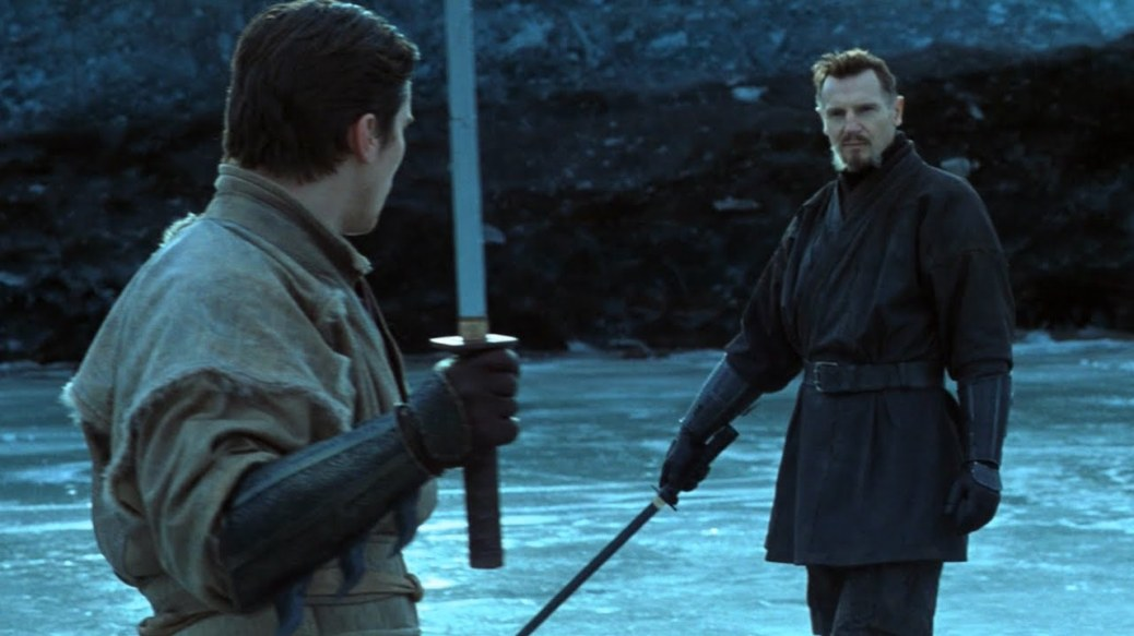 Christian Bale and Liam Neeson in Batman Begins