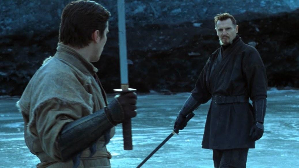 Christian Bale and Liam Neeson in Batman Begins