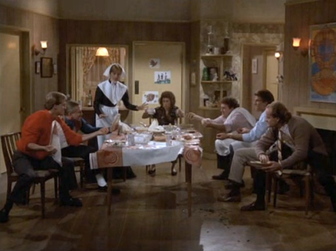 Cheers, Cheers Thanksgiving Food fight, Sam Malone, Ted Danson, Shelly Long, Fraiser Crane, Kelsey Grammer, John Ratzenberger, Woody Harrelson, Rhea Perlman,