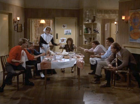 Cheers, Cheers Thanksgiving Food fight, Sam Malone, Ted Danson, Shelly Long, Fraiser Crane, Kelsey Grammer, John Ratzenberger, Woody Harrelson, Rhea Perlman,