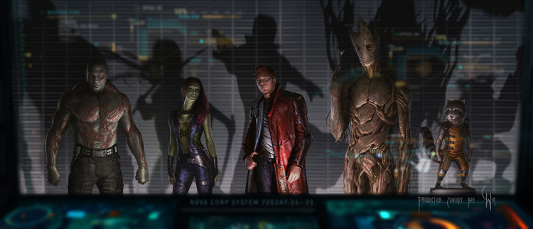 guardians of the galaxy, gamora, starlord, groot, rocket raccoon, drax