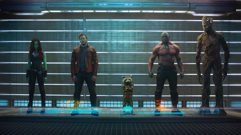 Guardians of the Galaxy, Gamora, Star Lord, Rocket Raccoon, Groot, Drax, Zoe Saldana, Chris Pratt, Bradley Cooper, Vin Diesel