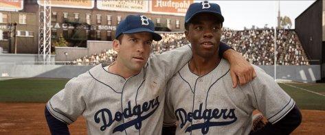 Chadwick Boseman, Jackie Robinson, Pee Wee Reese, Brooklyn Dodgers, baseball, 42