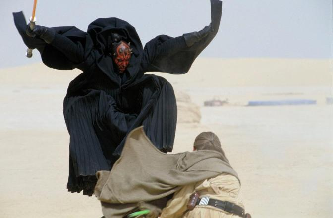 Darth Maul, Qui Gon Jinn, Liam Neeson, Ray Park, Star Wars, Star Wars Episode I The Phantom Menace