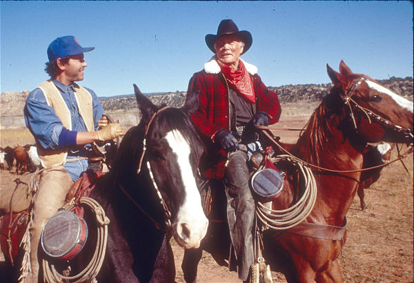 """Billy Crystal and Jack Palance in """"City Slickers.""""Photo by Bruce McBroom"""
