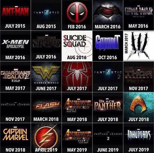 2019 Movie Calendar Comic Book Movie Schedule 2015 2019 | Killing Time