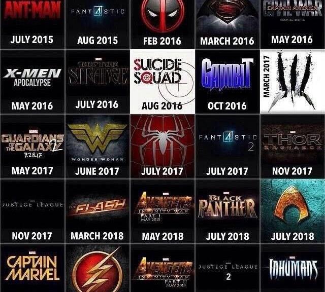 2019 Movie Calendar Superhero Movie Calendar | Killing Time