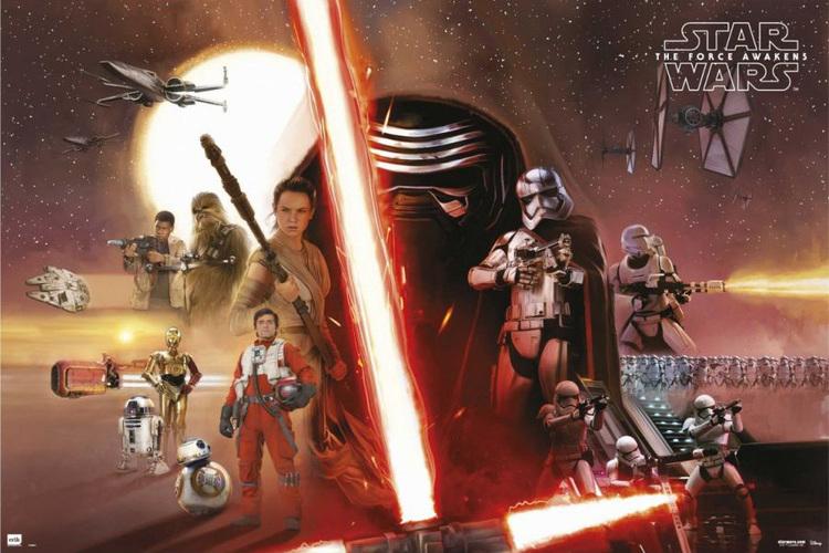 Star Wars Episode VII, Rey, Finn, BB-9, Poe Dameron, Captain Phasma, Kylo Ren, Han Solo, General Leia Organa, Stormtroopers, Planet Starkiller, C-3PO, R2-D2, Chewbacca, Maz Kanata