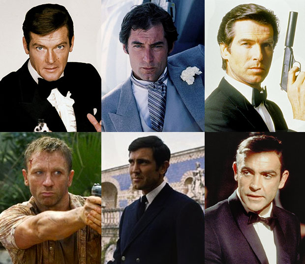 James Bond, Sean Connery, George Lazenby, Roger Moore, Daniel Craig, Timothy Dalton, Pierce Brosnan