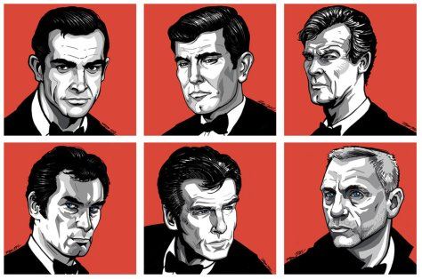 James Bond, Sean Connery, George Lazenby, Roger Moore, Daniel Craig, Timothy Dalton, Pierce Brosnan