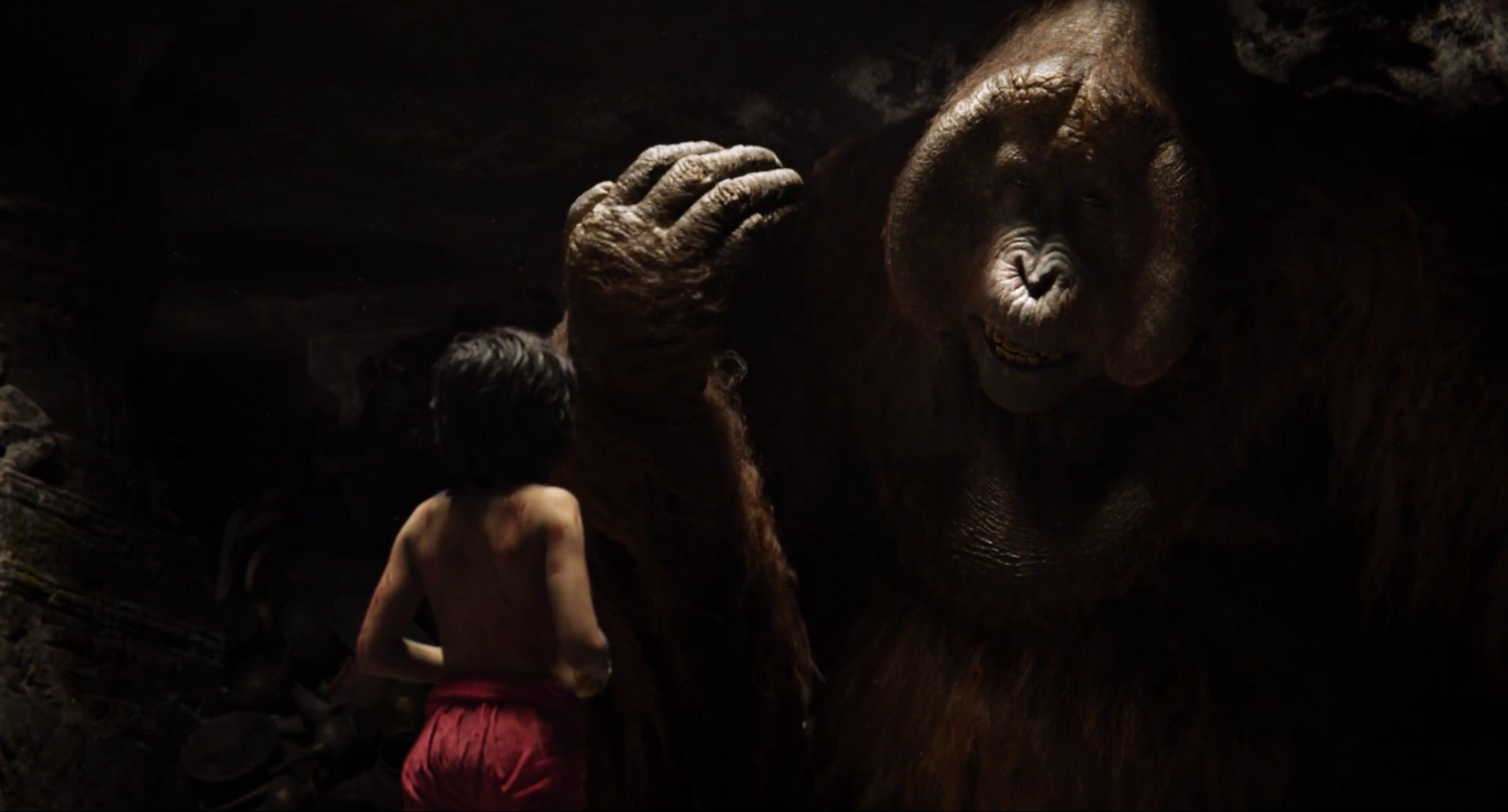 King Louie, Mowgli, Christopher Walken, Neel Sethi, Disney's The Jungle Book