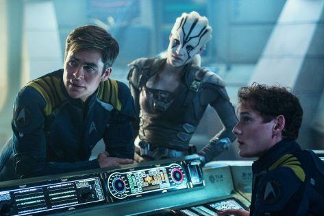 Star Trek Beyond, Pavel Chekov, Captain Kirk, Chris Pine, Anton Yelchin