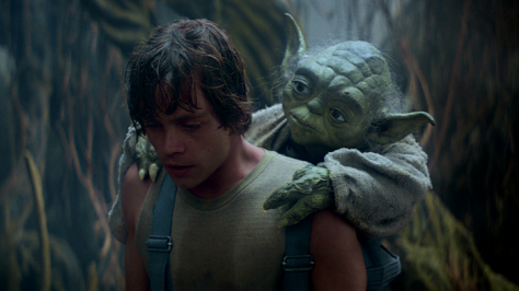 Luke Skywalker (Mark Hamill) and Yoda in The Empire Strikes Back