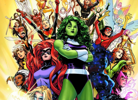She Hulk, Medusa, Captain Marvel, Spider-Woman, Scarlet Witch, Marvel Comics