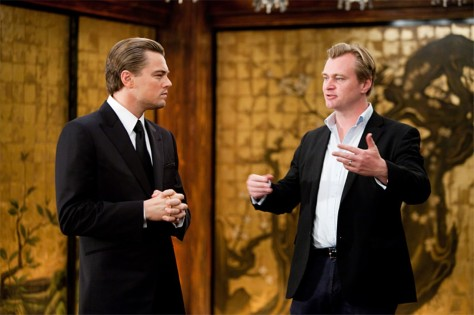 Christopher Nolan and Leonardo DiCaprio on the set of Inception