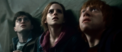 Daniel Radcliffe, Rupert Grint, and Emma Watson in Harry Potter and the Deathly Hallows Part 2