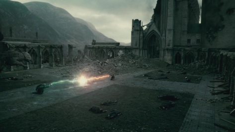 Harry and Voldemort's final duel in Harry Potter and the Deathly Hallows part 2