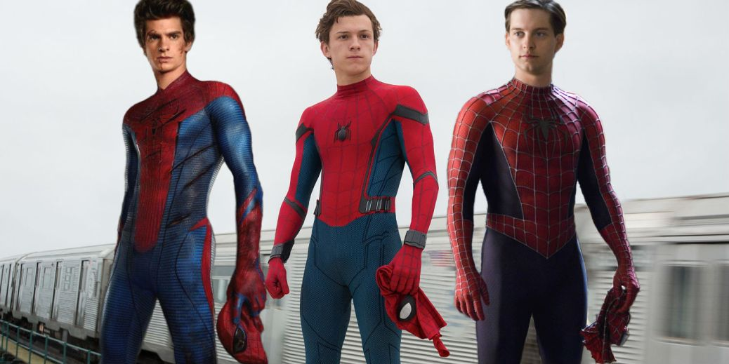 Andrew Garfield, Tobey Maguire, and Tom Holland as Spider-Man