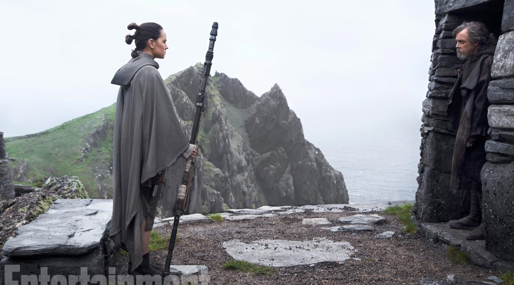 Daisy Ridley and Mark Hamill in Star Wars: The Last Jedi
