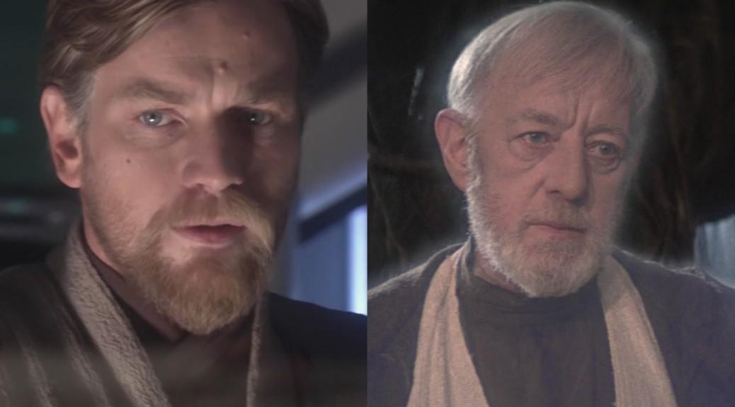 Alec Guiness and Ewan McGregor as Obi-Wan Kenobi in Star Wars