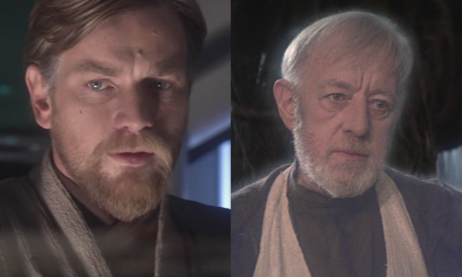 Alec Guiness and Ewan McGregor as Obi-Wan Kenobi in Star Wars