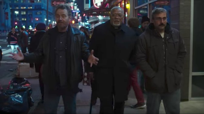 Bryan Cranston, Laurence Fishburne, and Steve Carrell in Last Flag Flying