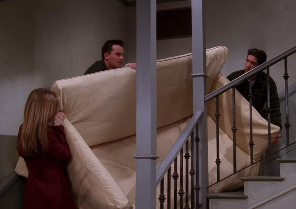 Jennifer Anniston, Matthew Perry, and David Schwimmer in Friends