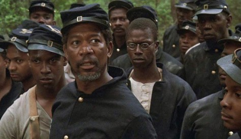 Morgan Freeman, Denzel Washington, and Andre Braugher in Glory