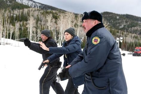 High Dillon, Elizabeth Olsen, and Graham Greene in Wind River