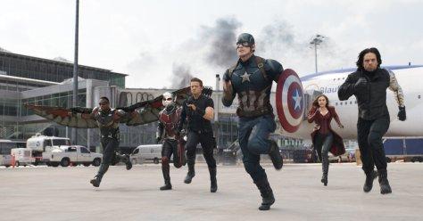 Anthony Mackie, Paul Rudd, Jeremy Renner, Sebastian Stan, Chris Evans, and Elizabeth Olsen in Captain America: Civil War