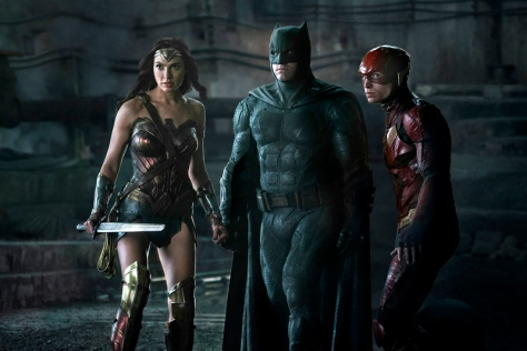 Gal Gadot, Ben Affleck, and Ezra Miller in Justice League