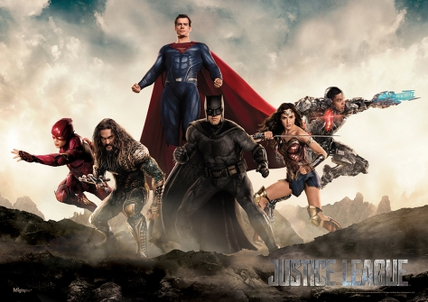 Ezra Miller, Jason Mamoa, Henry Cavill, Ben Affleck, Gal Gadot and Ray Fisher in Justice League