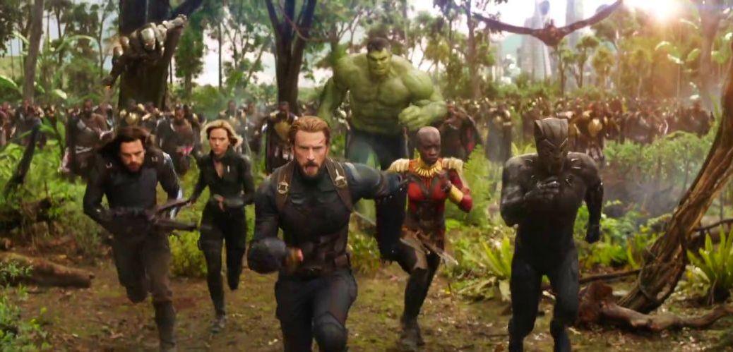 Sebastian Stan, Scarlett Johansson, Chris Evans, and Chadwick Bosemen in Avengers: Infinity War