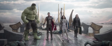 Mark Ruffalo, Chris Hemsworth, Tessa Thompson, and Tom Hiddleston in Thor: Ragnarok