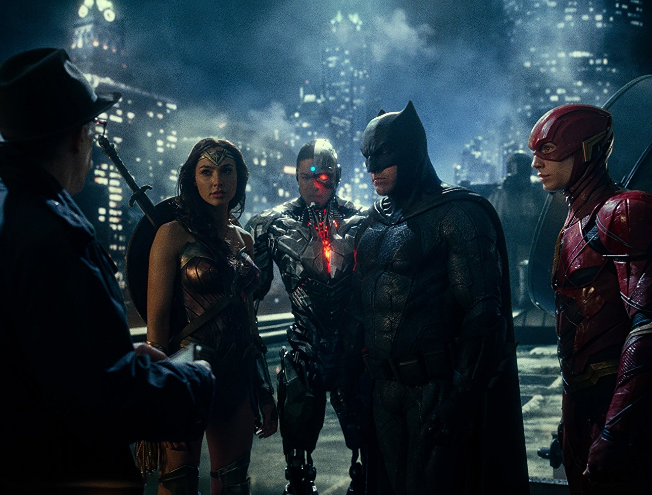 JK Simmons, Gal Gadot, Ray Fisher, Ben Affleck, and Ezra Miller in Justice League