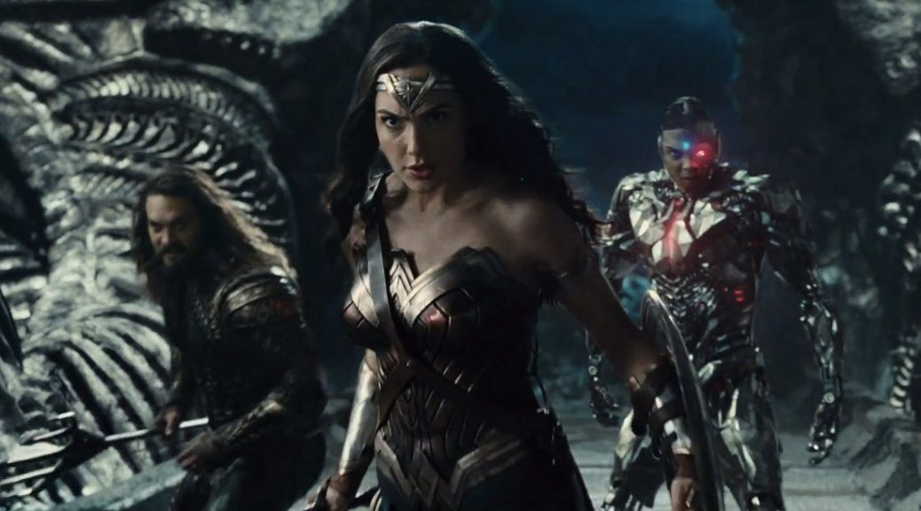 Jason Mamoa, Gal Gadot, and Ray Fisher in Justice League