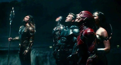 Jason Mamoa, Ray Fisher, Ben Affleck, Gal Gadot and Ezra Miller in Justice League