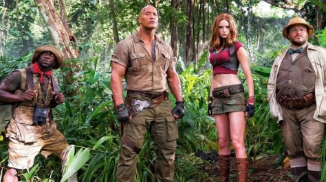 Kevin Hart, Dwayne Johnson, Karen Gillan, and Jack Black in Jumanji: Welcome to the Jungle