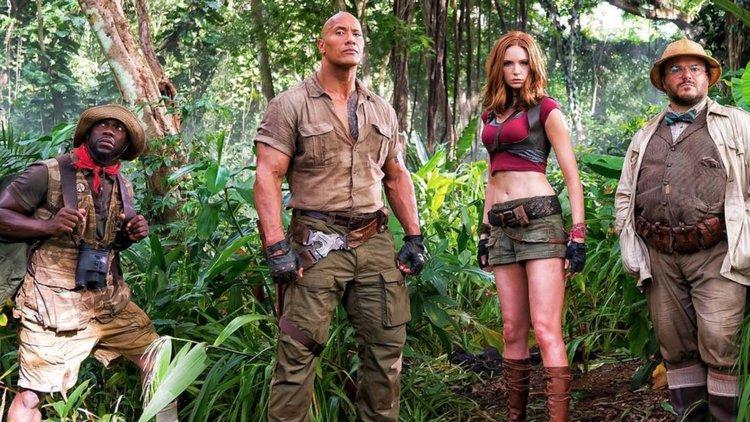 Kevin Hart, Dwayne Johnson, Karen Gillan, and Jack Black in Jumanji: Welcome to the Jungle
