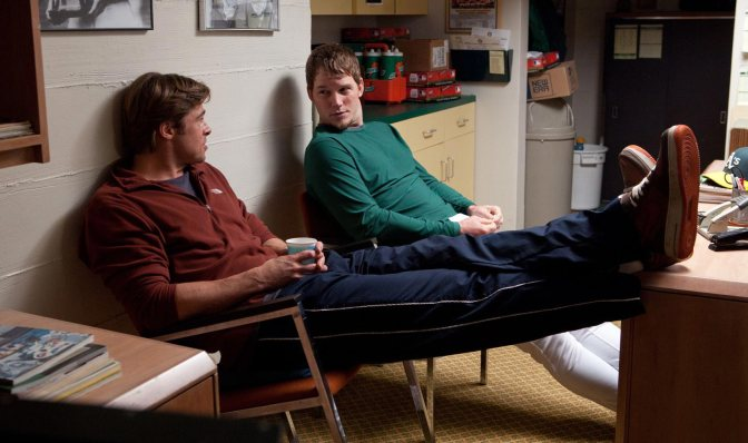 Brad Pitt and Chris Pratt in Moneyball