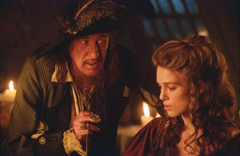 Geoffery Rush and Keira Knightley in Pirates of the Caribbean: The Curse of the Black Pearl