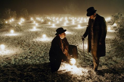 Andy Serkis and Hugh Jackman in The Prestige
