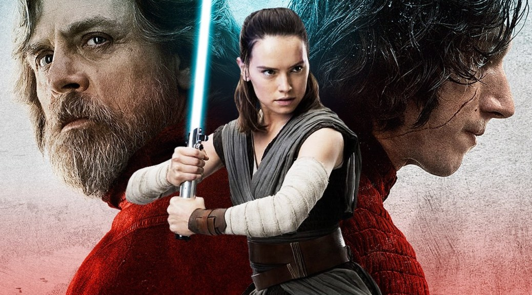 Mark Hamill, Daisy Ridley, and Adam Driver in Star Wars: The Last Jedi