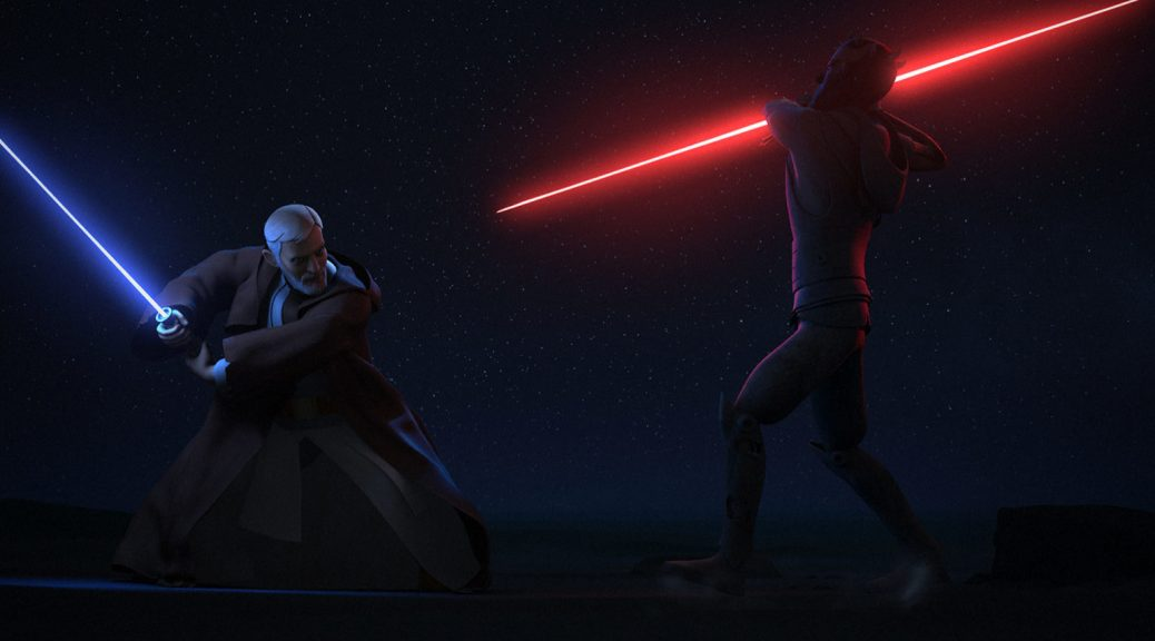 Obi-Wan Kenobi and Darth Maul in Star Wars: Rebels