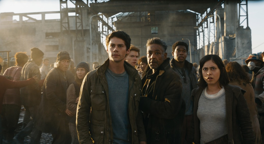 Dylan O'Brien, Giancarlo Esposito, and Rosa Salazar in Maze Runner: The Death Cure