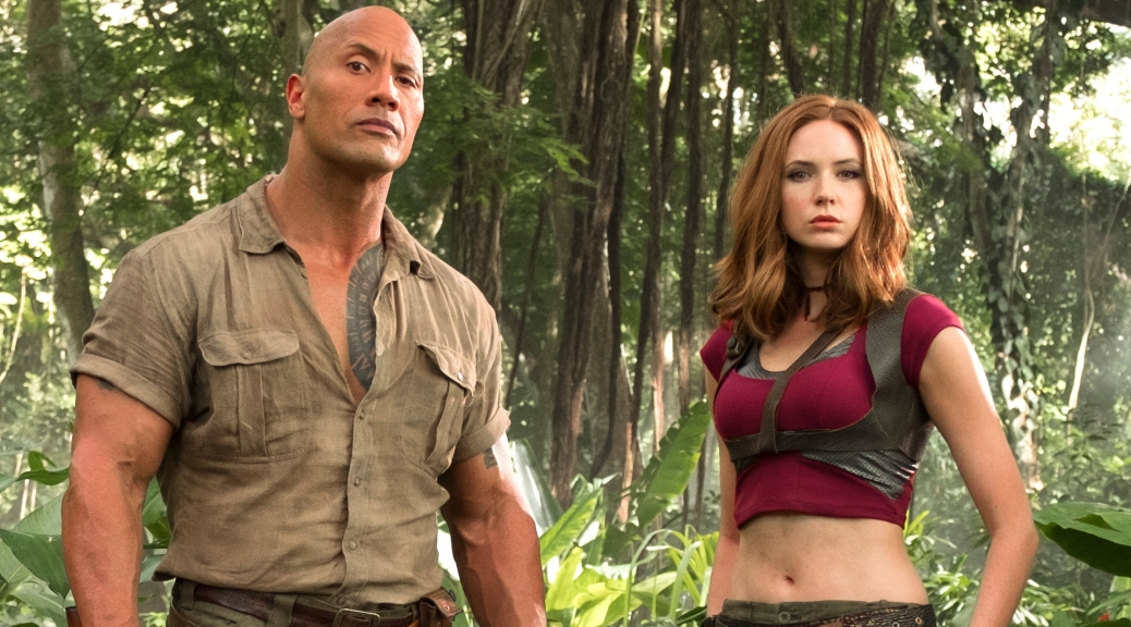 Dwayne Johnson and Karen Gillan in Jumanji: Welcome to the Jungle