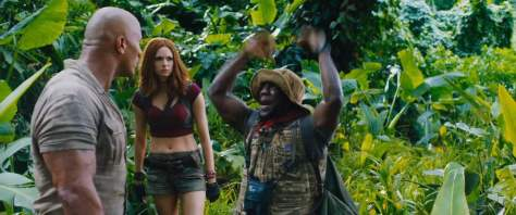 Dwayne Johnson, Karen Gillan, and Kevin Hart in Jumanji: Welcome to the Jungle
