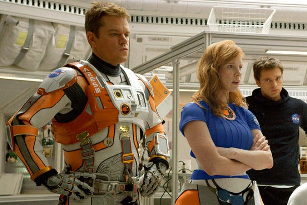Matt Damon, Jessica Chastain, and Sebastian Stan in The Martian