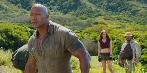 Dwayne Johnson, Karen Gillan and Jack Black In Jumanji Welcome to the Jungle