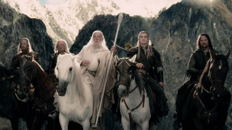 Ian McKellen, Orlando Bloom, and Viggo Mortensen in The Lord of the Rings: The Two Towers